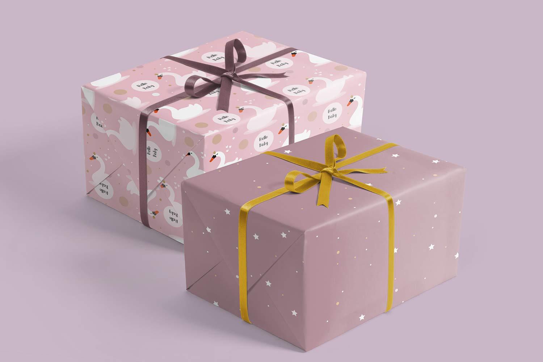 Its a girl, rose, cygne 4 feuilles individuelles 4 pendentifs cadeaux Papier cadeau naissance pour b/éb/é fille