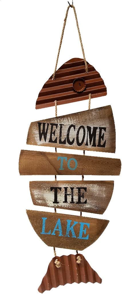 Cabin & Home Lake House Decor Fish Wall Sign, Wood and Tin (Welcome to The Lake)