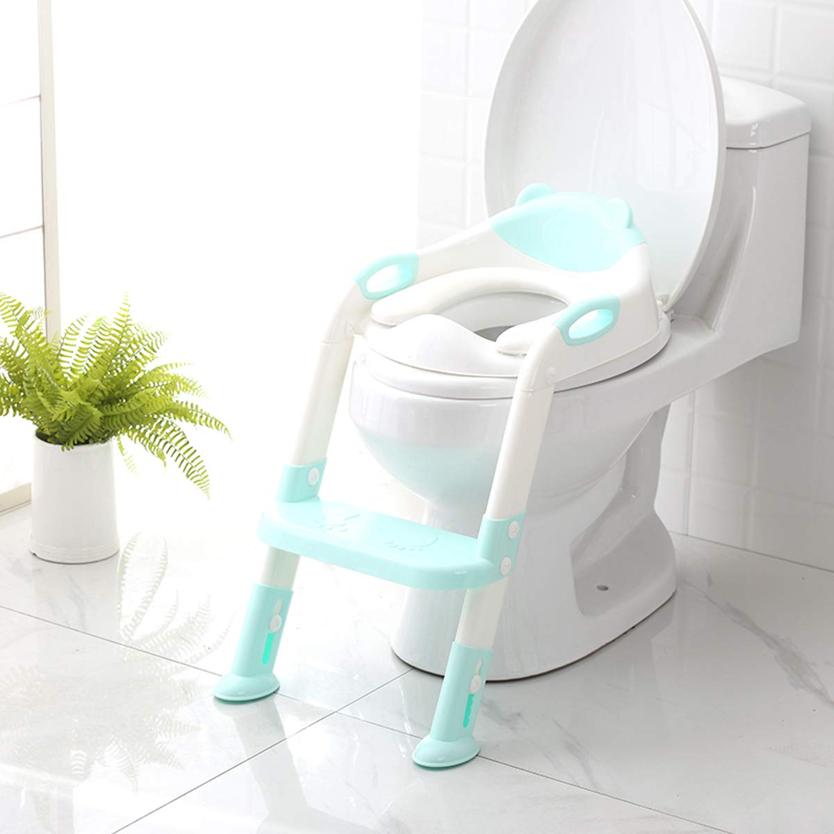 Potty Training Seat mit Step Stool Ladder,Skyroku Potty Training Toilet für Kids Boys Girls Toddlers-Comfortable Safe Potty Seat mit Anti-Slip Pads Ladder (Blue)