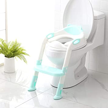 Strange Potty Training Seat With Step Stool Ladder Skyroku Potty Training Toilet For Kids Boys Girls Toddlers Comfortable Safe Potty Seat With Anti Slip Pads Evergreenethics Interior Chair Design Evergreenethicsorg