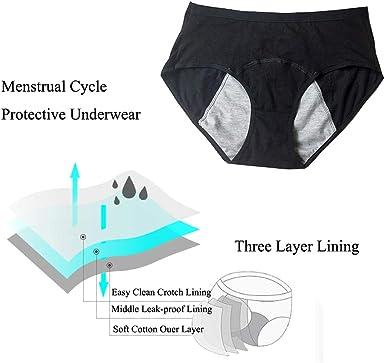 Nightaste Bragas del Período Menstrual Algodón Niña Chicas Adolescentes Micro Mesh Culottes Mujer Posparto Protección Ropa Interior(Paquete de 4)