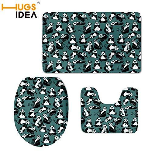 VT BigHome 3D Cute Panda Print Toilet Seat Covers Mat Warmer Soft Bathroom Carpet Toilet WC Accessories 3 PCS Set Home Decor
