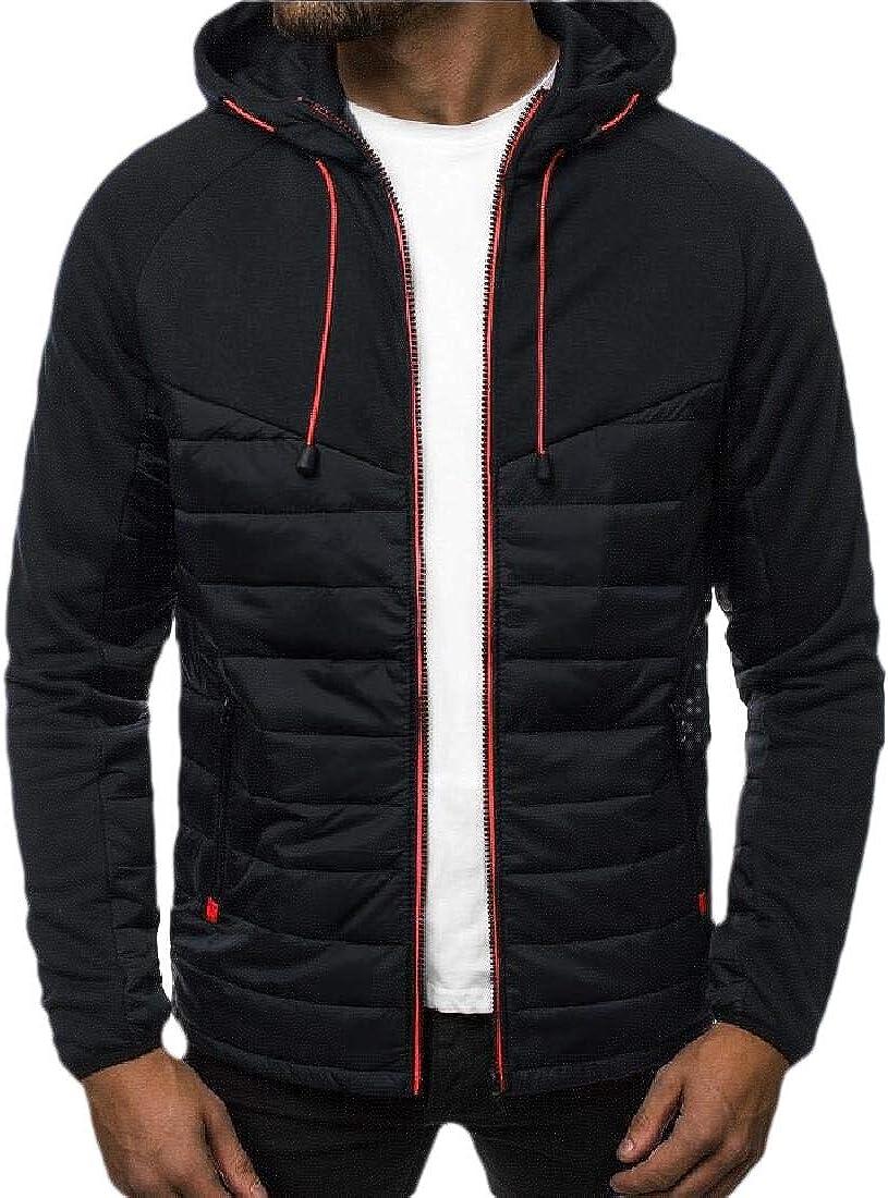 CYJ-shiba Mens Jacket Coat Long Sleeve Patchwork Zip Hooded Sweatshirt Workout Outwears