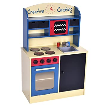 Costzon Wood Kitchen Toy Kids Cooking Pretend Play Set Toddler Wooden  Playset Gift Newl