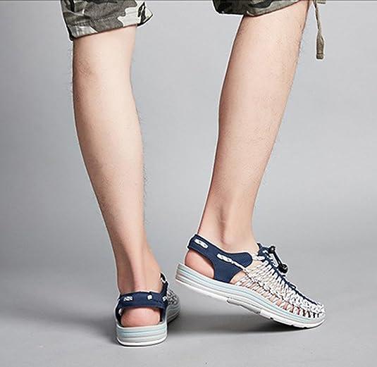 2018 Été Nouveau Loisirs de la Mode des Hommes Tissés à la Main Chaussures  Sandales Paresseux Sandales en Plein air  Amazon.fr  Chaussures et Sacs 3fd57c066b90