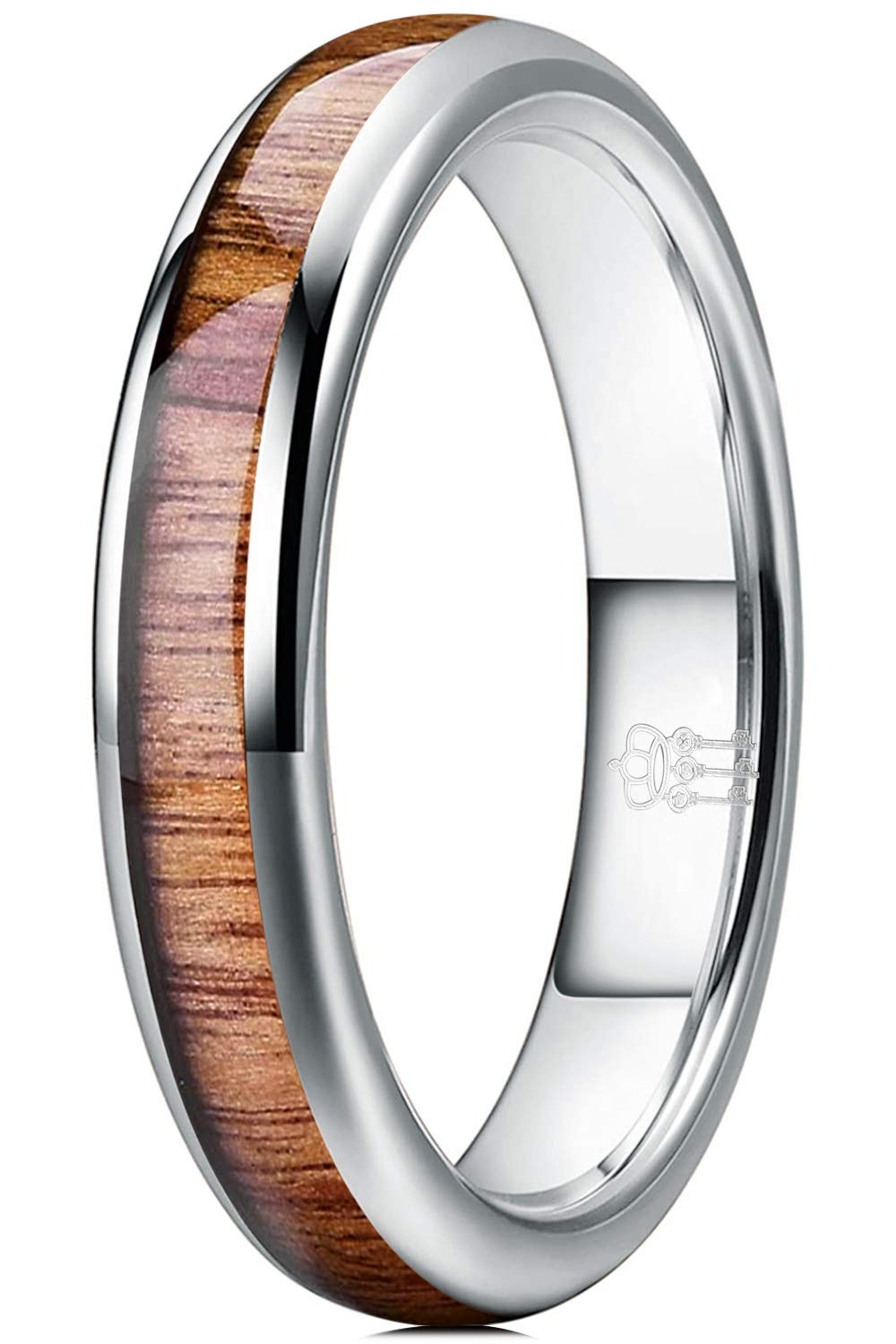 THREE KEYS JEWELRY 4mm 6mm 8mm Tungsten Wedding Ring Domed with Real Koa Wood Inlay Silver Band