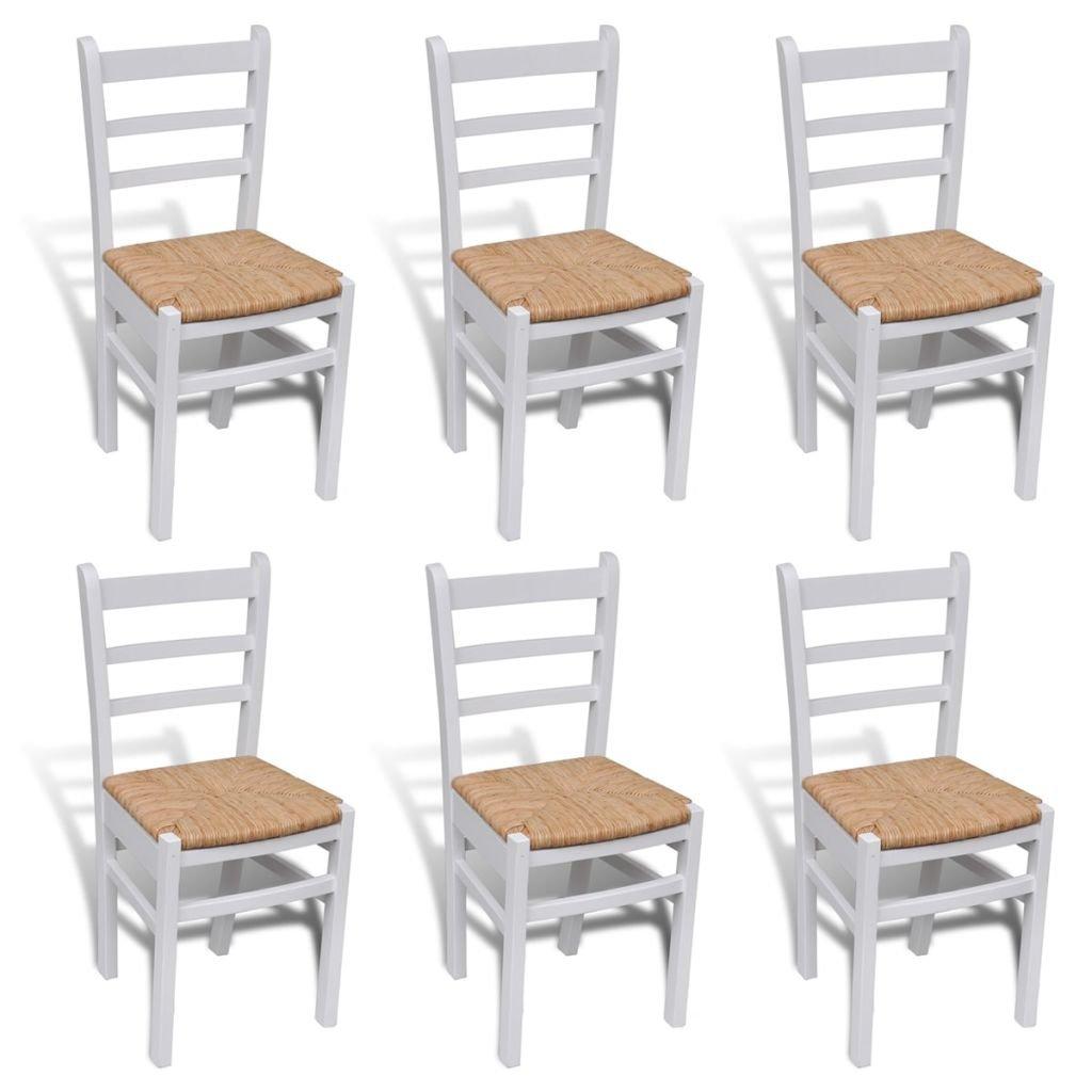 VidaXL 6X Esszimmerstuhl Holz Weiß Stuhl Set Küchenstuhl Holzstuhl Stuhlgruppe