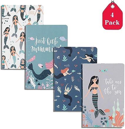 Amycute - Cuaderno de sirena, tamaño A5, 4 unidades, diseño de sirena, cuaderno con forro, cuaderno de composición para niñas y niños A5 B5 Size: Amazon.es: Oficina y papelería