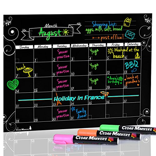 Cedar Markers 16'x12' Black Magnetic Fridge Calendar With 3 Free Chalk Markers. Dry Erase Blackboard Monthly Calendar.