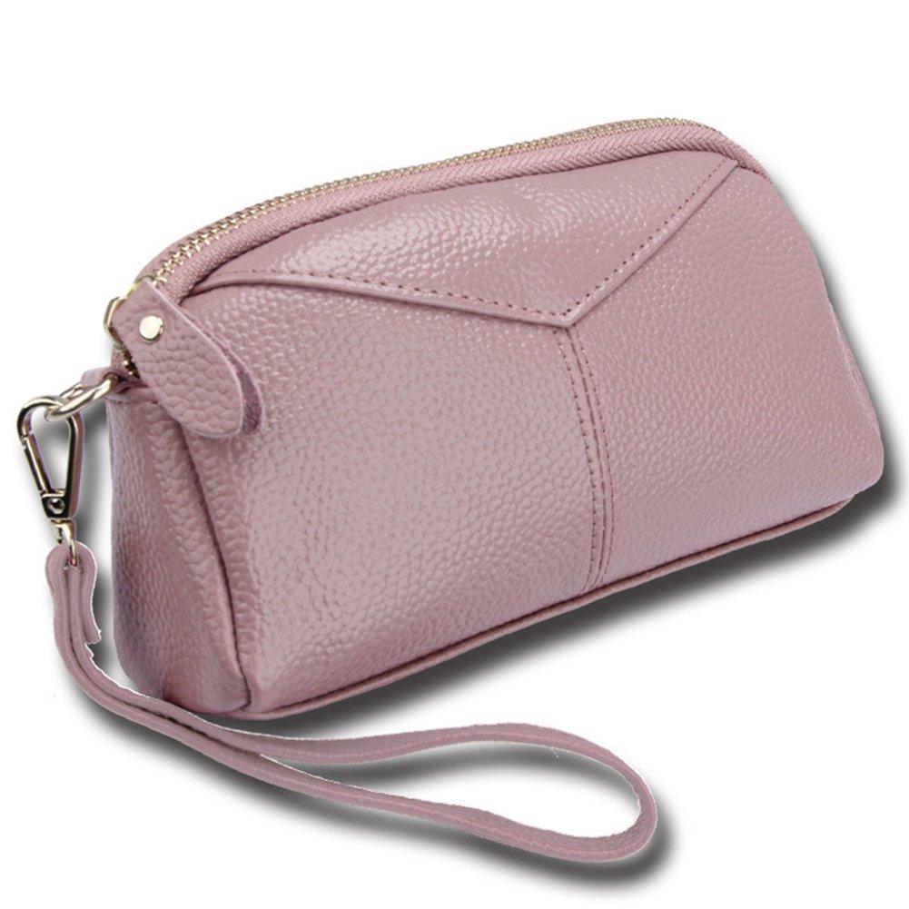 RFID Women Leather Zip Around Wristlet Wallet Clutch Large Capacity Phone Card holder (Pink)