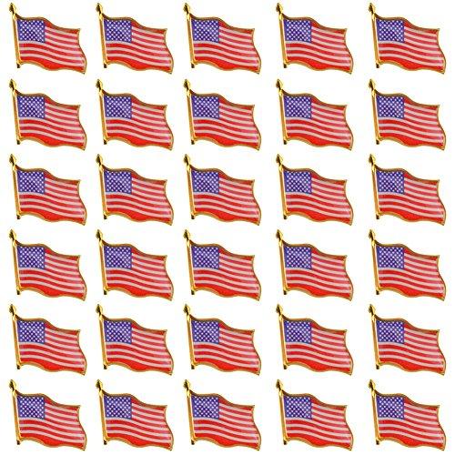 (Rantanto American Flag Lapel Pin Jewlery United States Waving Flag Pins (30 Pack))