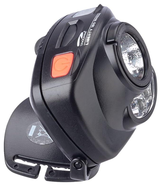 LiteXpress Liberty 120 Sensor - Linterna de cabeza con LED de hasta 100 lúmenes, conformidad ANSI FL1, color negro: Amazon.es: Iluminación