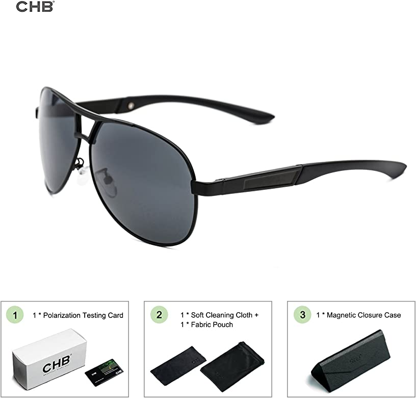 CHB Protección UV 400 Gafas de Sol Ligeras Con Estuche de Gafas Aviador Polarizadas Marco Metal Hombres Para Hacer Ejercicio