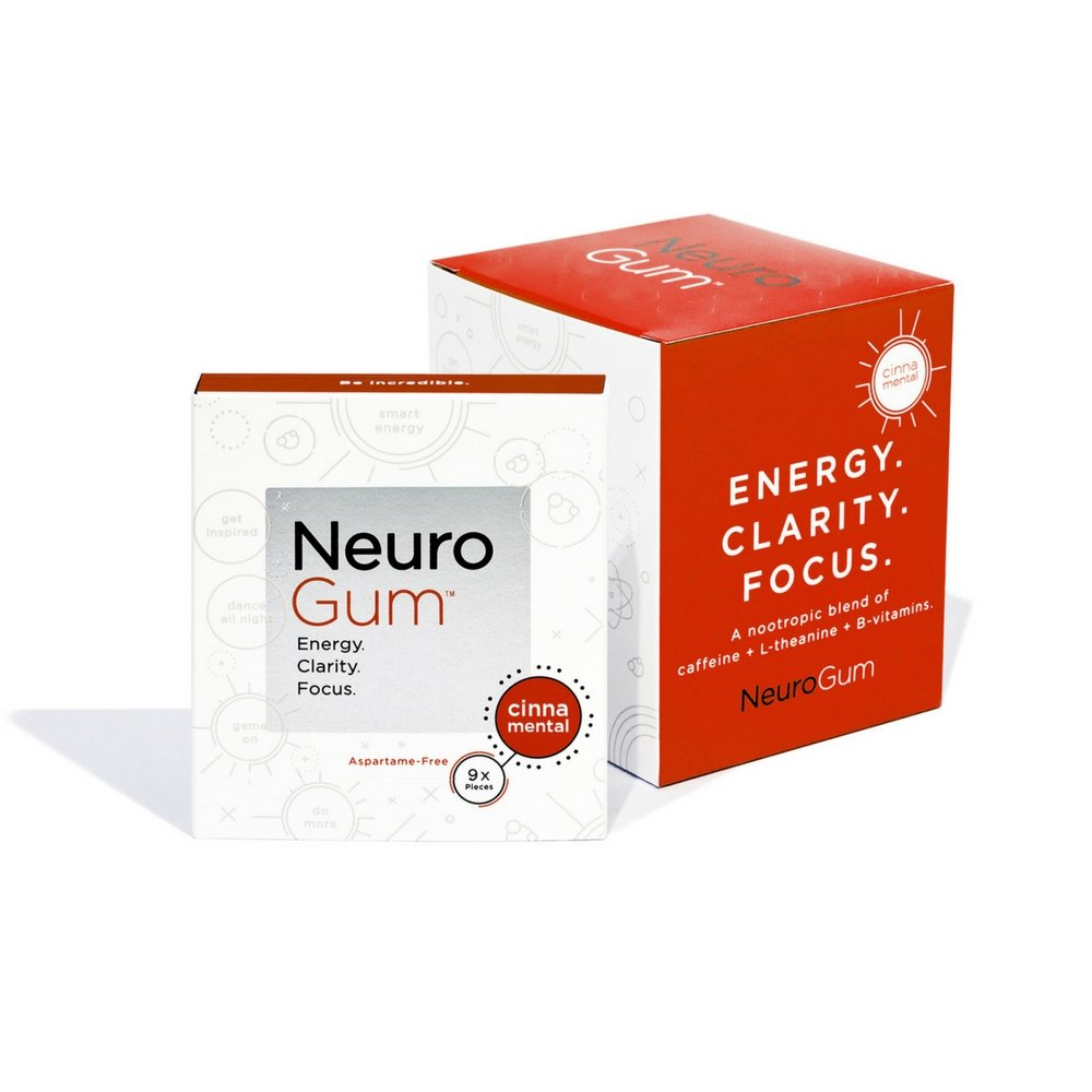 NeuroGum Nootropic Cinnamon Flavor Energy Gum   Caffeine + L-theanine + B Vitamins   Sugar free + Gluten free + Non GMO + Vegan   CinnaMental Flavor (54 Count)