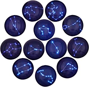 12 Constellation Series Fridge Magnets Beautiful Glass Creative Pushpins for Whiteboard Office Calendar Decorative Popular Home Wall Décor Set (12 constellations)