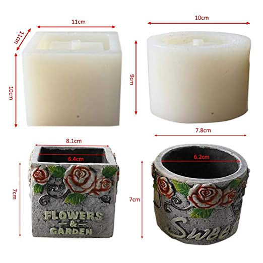 Hifuture Molde de Silicona para macetas Manualidades, Redondo/Cuadrado, diseño de Rosas Reutilizables, moldes de hormigón, moldes para Hacer Cemento, ...