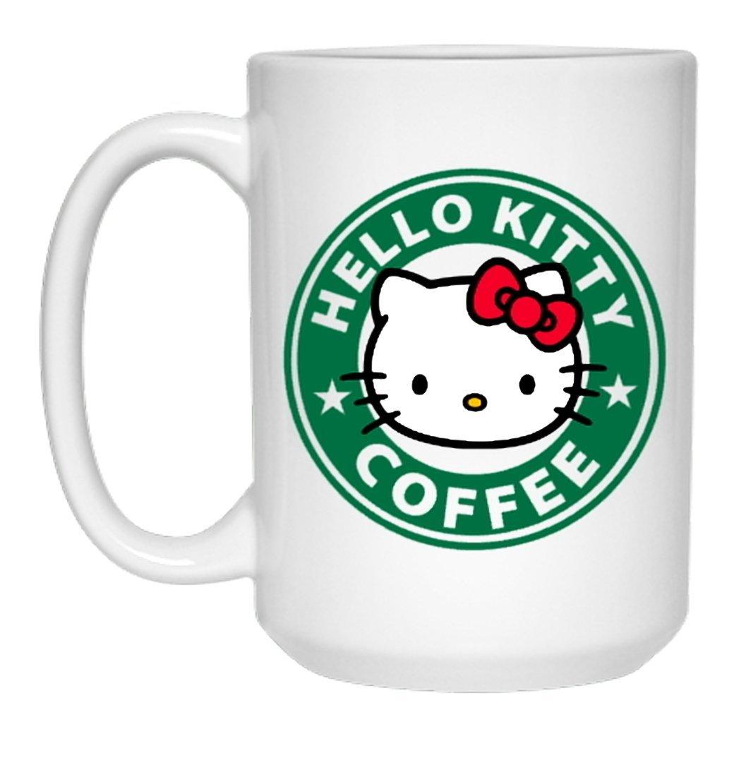 Jasminets Hello Kitty Starbucks Coffee Mug Inspire Anime Cartoon Nerd Gamer Parody Mug A2