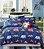 Cliab Car Bedding Sets Queen Size For Boys Girls Kids Purple Vintage Style 100% Cotton 7 Pieces