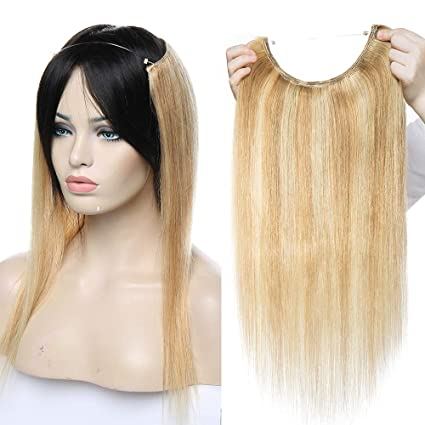 "18"" Extensiones de Cabello Natural con Hilo Una Pieza Liso - Invisible y No Clips"