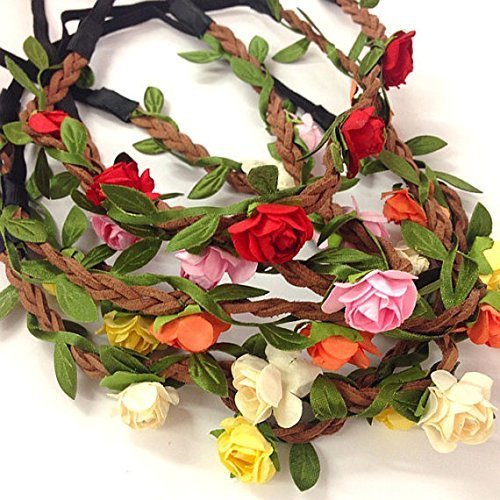 Price comparison product image 5 Pcs Women Lady Girl's Bohemian Boho Style Rose Flower Floral Crown Headband Garland Halo Hair Band For Festival Party Wedding - Random Color