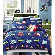 Cliab Car Bedding Sets Queen Size For Boys Girls Kids Purple Vintage Style 100% Cotton 7 Pieces