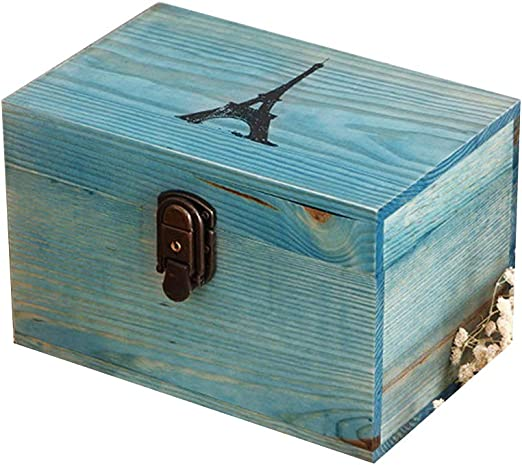 SXBISHNEG Caja Decorativa de Madera, Azul, Grande, Caja de Madera ...