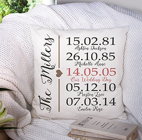 Personalized Family Pillow Cover - Throw Pillowcase - Custom Name Gift - Anniversary Gift - Family Heirloom Gift - Bespoke Gift - Heirloom Pillow Cover