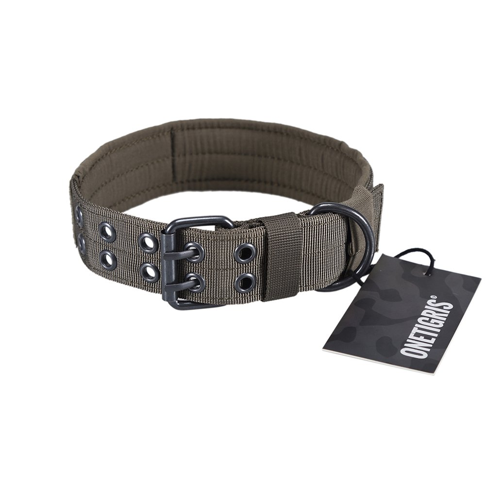 Ranger Green M Ranger Green M OneTigrey Military Adjustable Dog Collar with Metal D Ring & Buckle Available in 4 colors & 2 Sizes (Ranger Green, M)