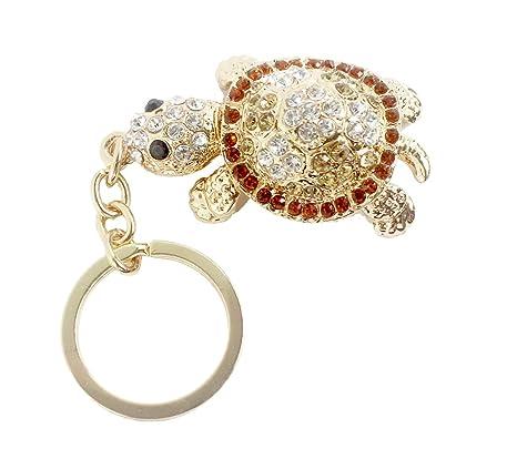 Xiaoyu cristal diamante tortuga llavero animal llavero coche y bolsa llavero - marrón
