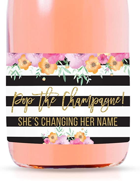 SET OF 10 3 x 2 labels Stripes and Floral Champagne Labels Will you be my Maid of Honor I cant Say I Do Without You Will you Be My Bridesmaid Mini Champagne or Mini Wine Labels CUSTOM