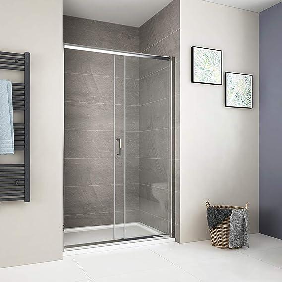 Duschdeluxe Puerta de ducha corredera de vidrio templado fácil de limpiar para baño: Amazon.es: Bricolaje y herramientas
