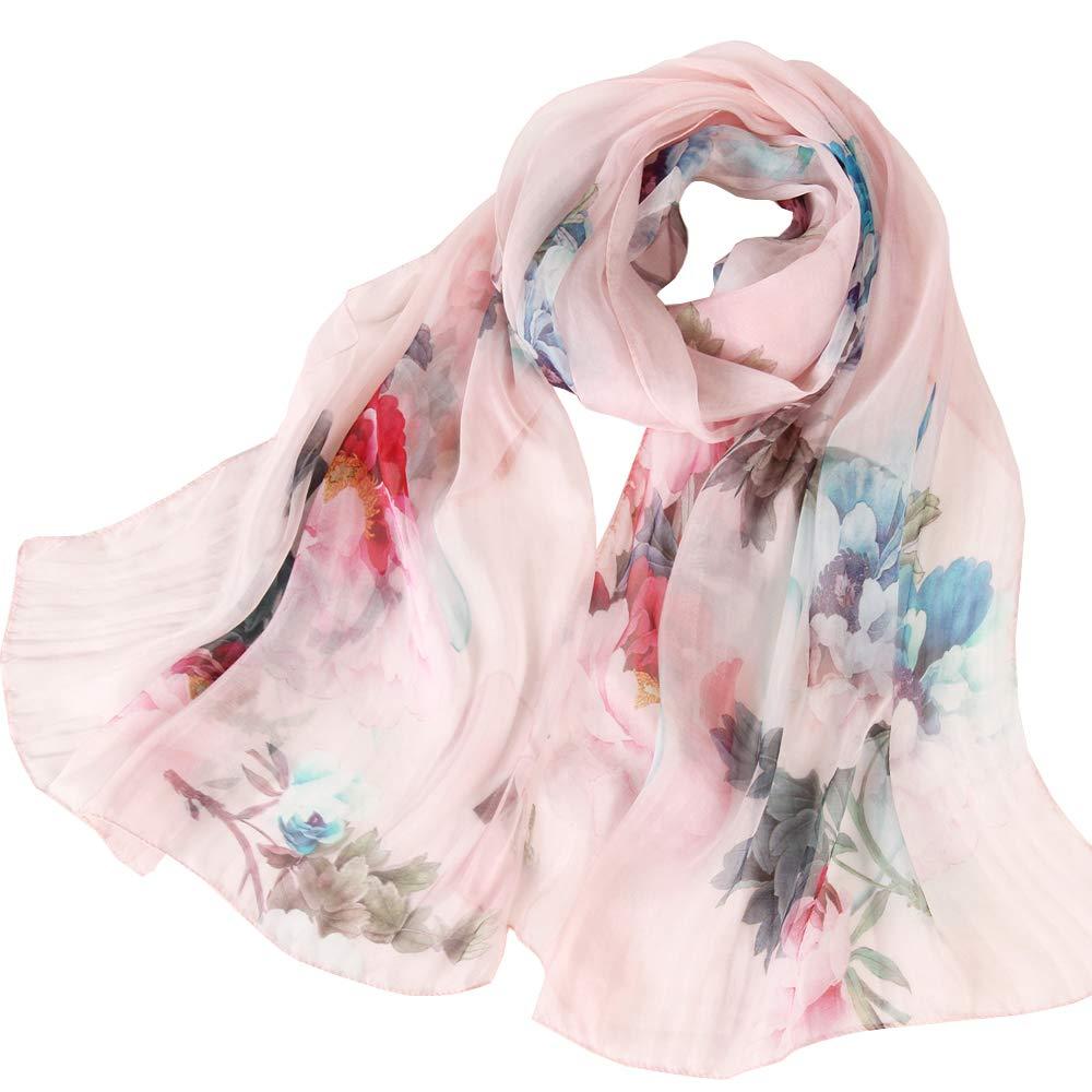 LD Pañuelos Cuello Mujer 100% Seda Bufanda de Hipoalergénica Accesorios Saludable de Mujer(Múltiples tamaños colores)