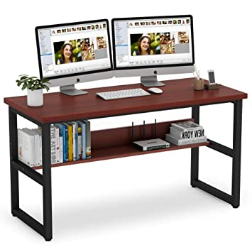 Remarkable Tribesigns Computer Desk With Bookshelf Works As Office Desk Download Free Architecture Designs Ferenbritishbridgeorg