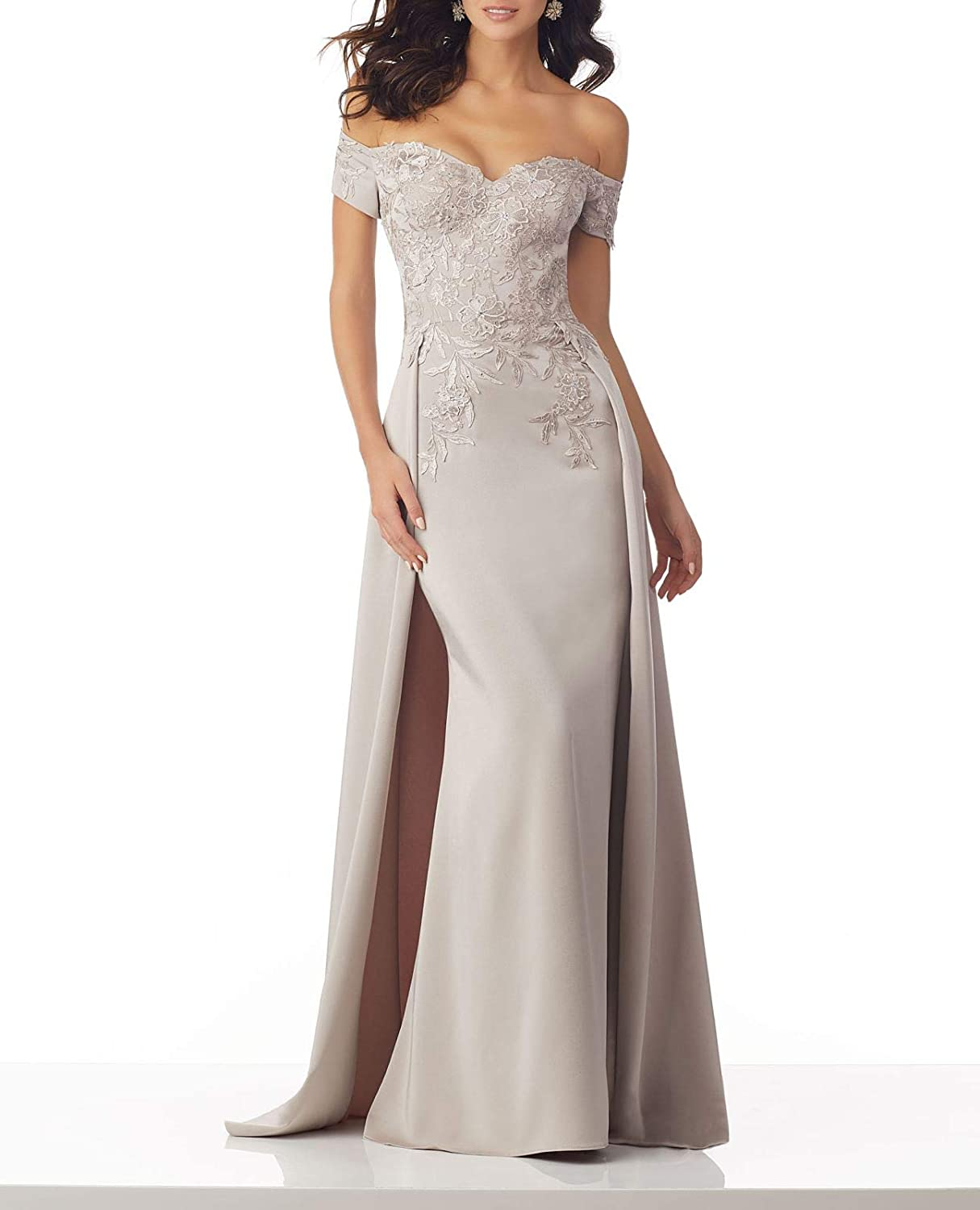 Beige Wanshaqin Women's Off The Shoulder Sweetheart Evening Gown Formal Wedding Party Dress for Brides with Cloak Back Tail