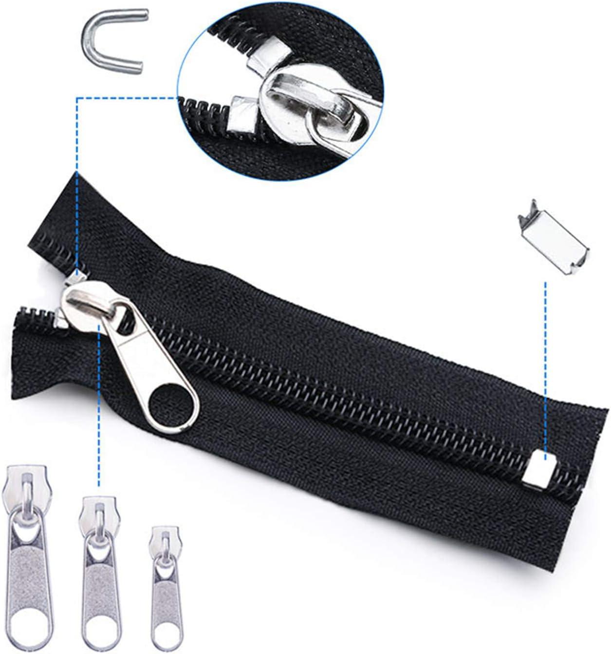 chaquetas estuche de costura juego de repuesto de cremallera con pinzas de montaje para bolsos tiendas de campa/ña Kit de reparaci/ón de cremallera de 85 piezas con 24 accesorios de costura