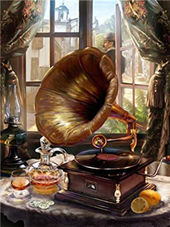 LoveTheFamily Classical Gramophone And Red Wine Paint By Numbers