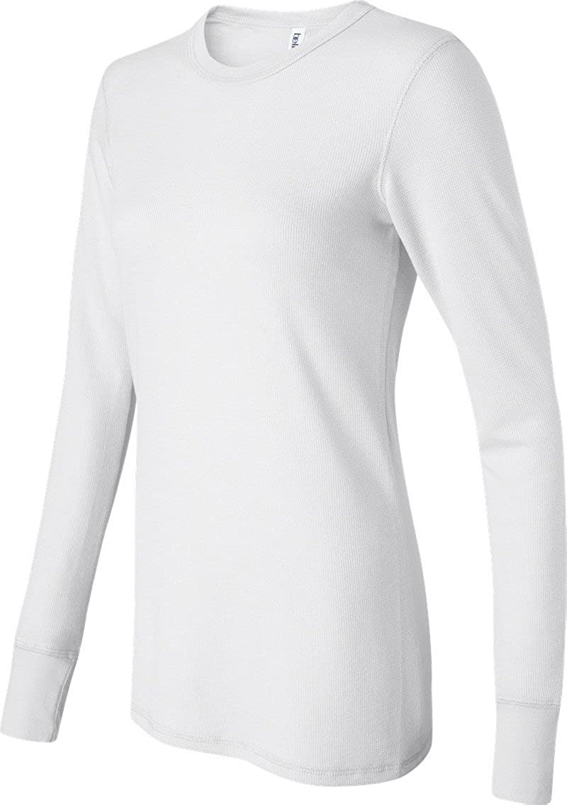 Ladies' Long Sleeve Thermal Tee Shirt, Color: White, Size: Medium Bella+Canvas B8500