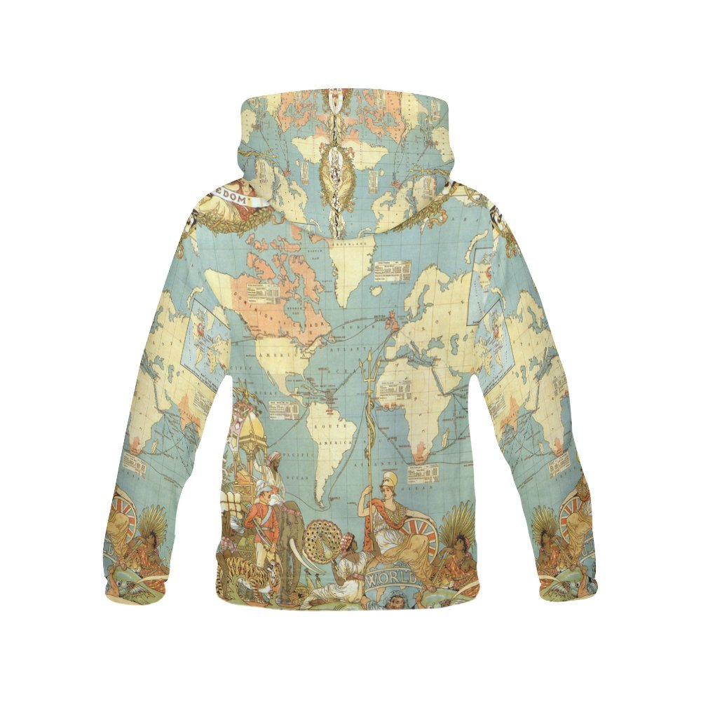Amazon Com Vintage Old World Map Women S 3d Printed Pullover Hooded
