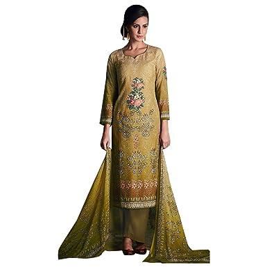 Amazon.com: INDIAN BOLLYWOOD STRAIGHT SALWAR KAMEEZ SUIT SARI SAREE ...