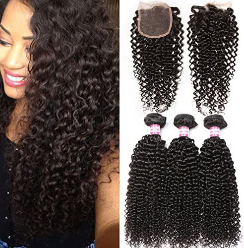 B&P Hair Brazilian Virgin Curly Hair Weft 3 Bundles with 1pc Lace Closure Free Part 4x4 100% Unprocessed Human Hair Extensions Natural Color 12 14 16+10inch closure
