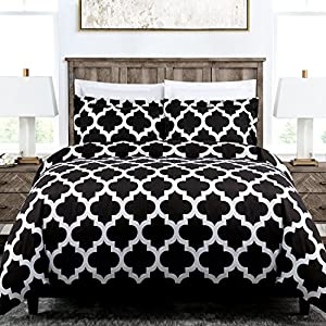 Egyptian Luxury Quatrefoil Duvet Cover Set - 3-Piece Ultra Soft Double Brushed Microfiber Printed Cover with Shams - Full/Queen - Black/White