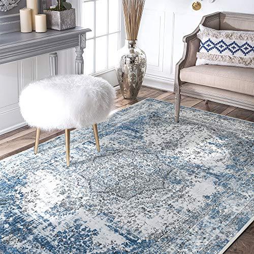 Blue Vintage Area Rug Floorcover Soft Modern Carpet 4'x 6'7