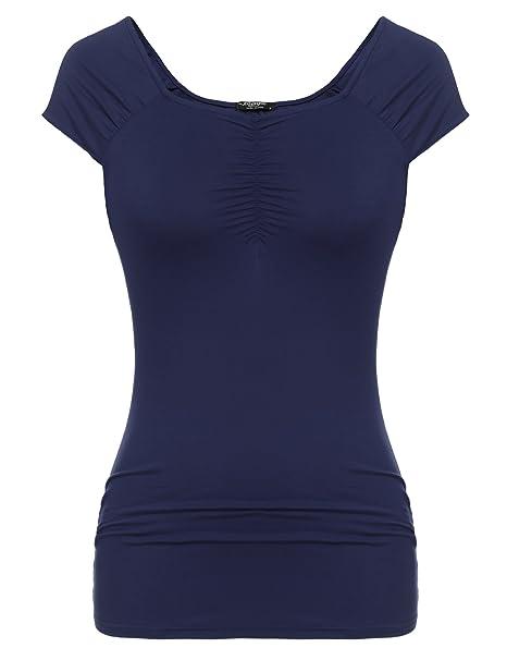 Zeagoo Damen Sommer Casual Tunika T-Shirt Elegant Oberteile Falten Tops  Kurzarm Bluse  Amazon.de  Bekleidung 6ecf06154f