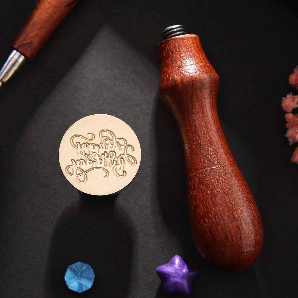 Retro Wax Seal Stamp Happy Birthday Paint Wood Seal DIY Sealing Wax 09