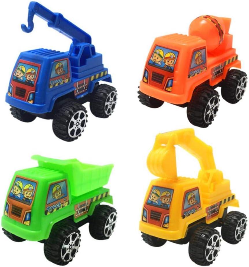 DGJEL Juguete 4 Piezas Pull Back Car Toys Construction VehicleMobile Machinery Shop Camión de Bomberos Taxi Modelo Baby Mini Cars Regalo Juguetes para niños, 4 Piezas