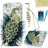 iPhone 6 Case (4.7 Inch) - Mavis's Diary 3D Handmade Bling Crystal Luxury Blue Peacock with Fashion Feather Shiny Sparkly Diamond Gems Clear Hard Cover & Cute Dust Plug & Stylus Pen & Screen Protector