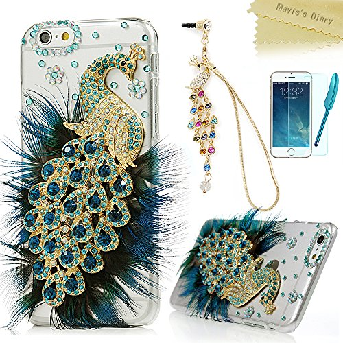iPhone 6 Case (4.7 Inch) - Mavis's Diary 3D Handmade Bling Crystal Luxury Blue Peacock with Fashion Feather Shiny Sparkly Diamond Gems Clear Hard Cover & Cute Dust Plug & Stylus Pen & Screen Protector