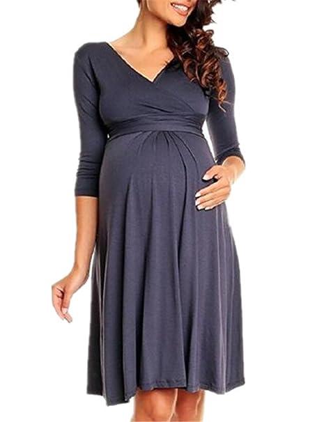 9fa074350 BESTHOO Ropa Embarazo Para Mujer Vestido Premamá Cuello V Ropa De  Maternidad Color Solido Vestido Manga