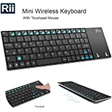 Rii RT-MWK12+ Mini K12 Stainless Steel Cover Wireless Keyboard with Built-in Large Size Touchpad & Rechargeable Li-Ion Battery for PC, Laptop, Raspberry Pi 2, Smart TV, IPTV, Black