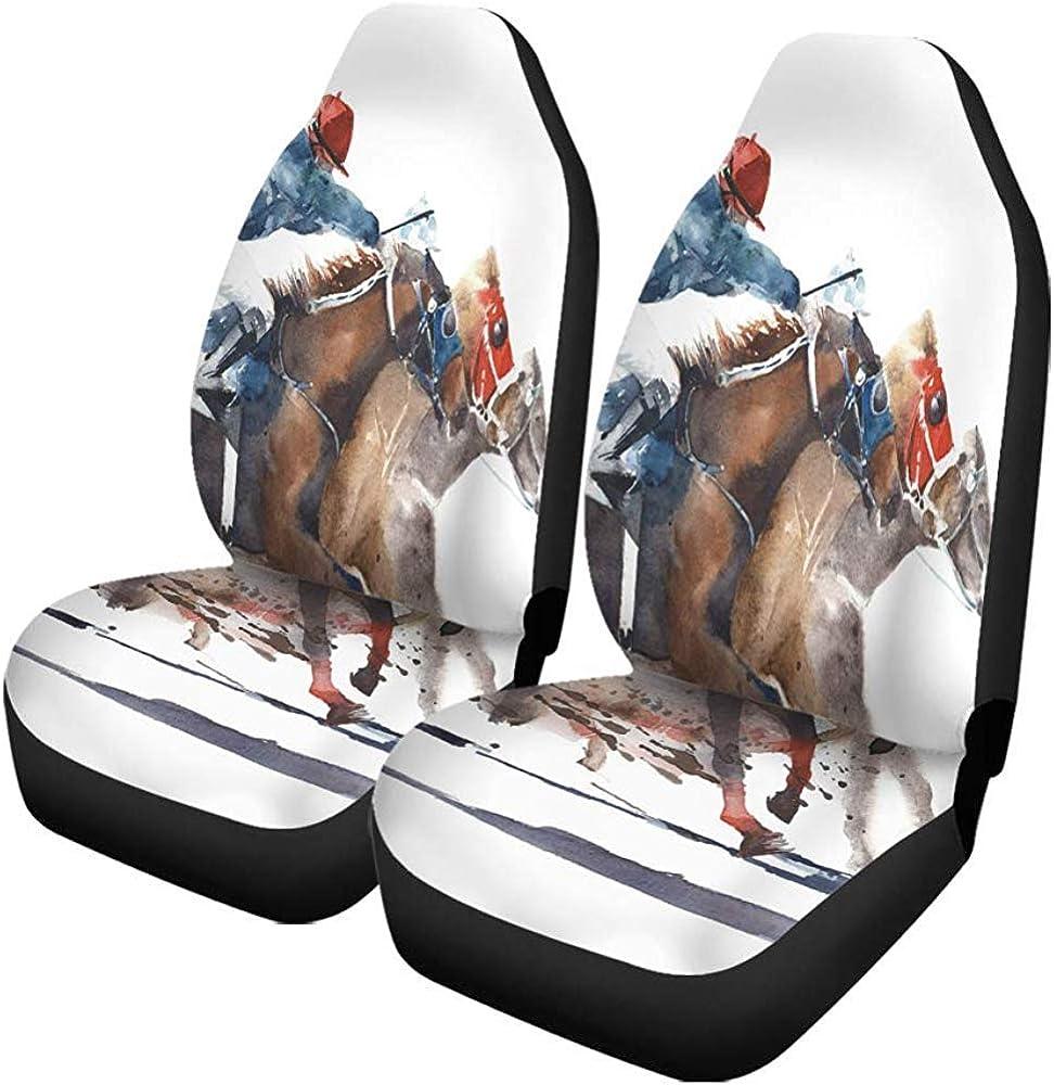 TABUE Juego de 2 fundas para asientos de coche, para pintar, carreras de caballos, competición, Derby, Racing Horses, Jockeys, Aquarell, para coche, SUV sedán, camión